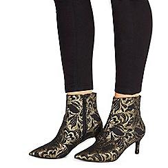 Faith - Black suedette 'Benny' mid kitten heel ankle boots