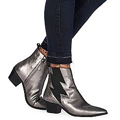 Nine by Savannah Miller - Metallic leather 'Shade' mid block heel ankle boots