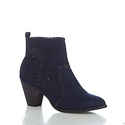 Nine by Savannah Miller - Navy suedette 'Sass' mid block heel ankle boots