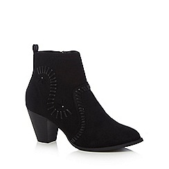 Nine by Savannah Miller - Black suedette 'Sass' mid block heel ankle boots