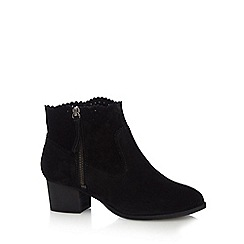 Nine by Savannah Miller - Black suede 'Shaba' mid block heel ankle boots