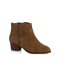 Nine by Savannah Miller - Tan suede 'Shaba' mid block heel ankle boots