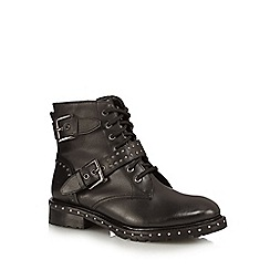 Nine by Savannah Miller - Black leather 'Sabina' biker boots