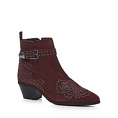 Nine by Savannah Miller - Dark red suede 'Samara' mid block heel ankle boots