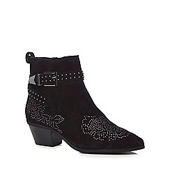 Nine by Savannah Miller - Black suede 'Samara' mid block heel ankle boots