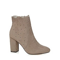 Nine by Savannah Miller - Grey suedette 'Shanie' high block heel ankle boots