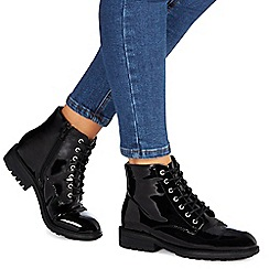 Faith - Black patent 'Brent' mid heel ankle boots