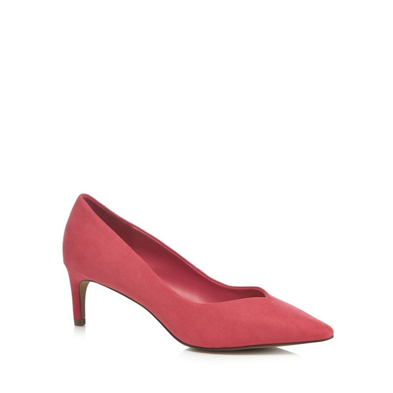 The Collection - Pink Suedette Cherub Mid Kitten Heel Pointed Shoes