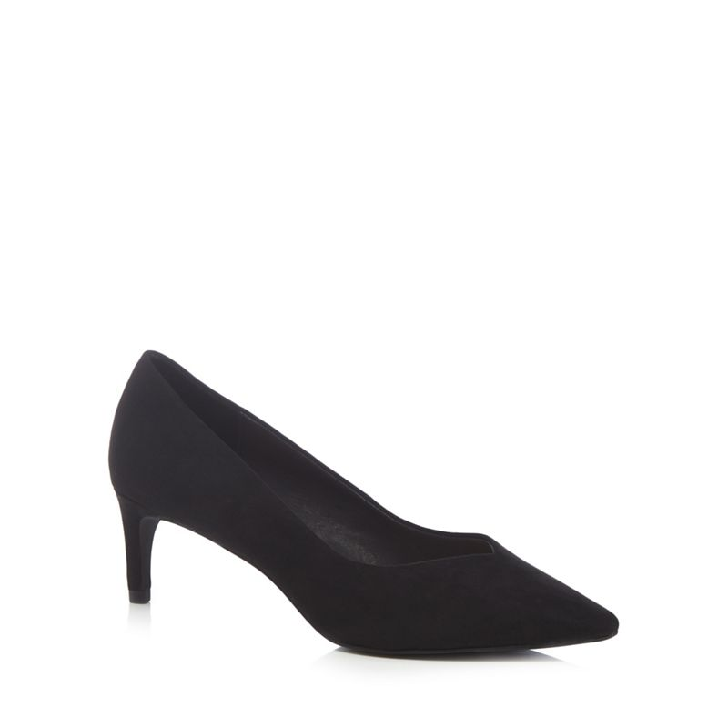 The Collection - Black Suedette Cherub Mid Kitten Heel Pointed Shoes