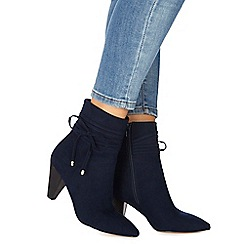Faith - Navy suedette 'Birdy' high heel ankle boots