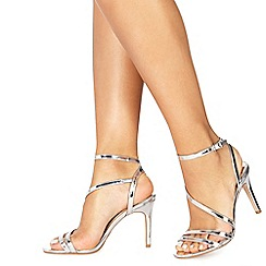 Faith - Silver 'Delly' high stiletto heel ankle strap sandals