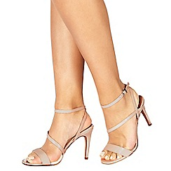 Faith - Natural 'Delly' high heel wide fit ankle strap sandals