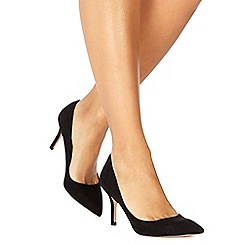 Faith - Black suedette 'Chariot' high stiletto heel pointed shoes