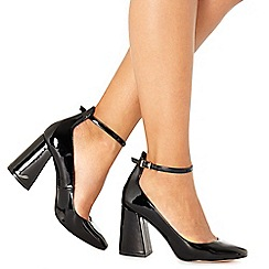 Faith - Black patent 'Christine' high block heel court shoes