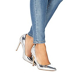 Faith - Silver 'Chloe' high heel wide fit pointed shoes