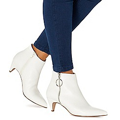 Faith - White 'Bolly' mid block heel ankle boots