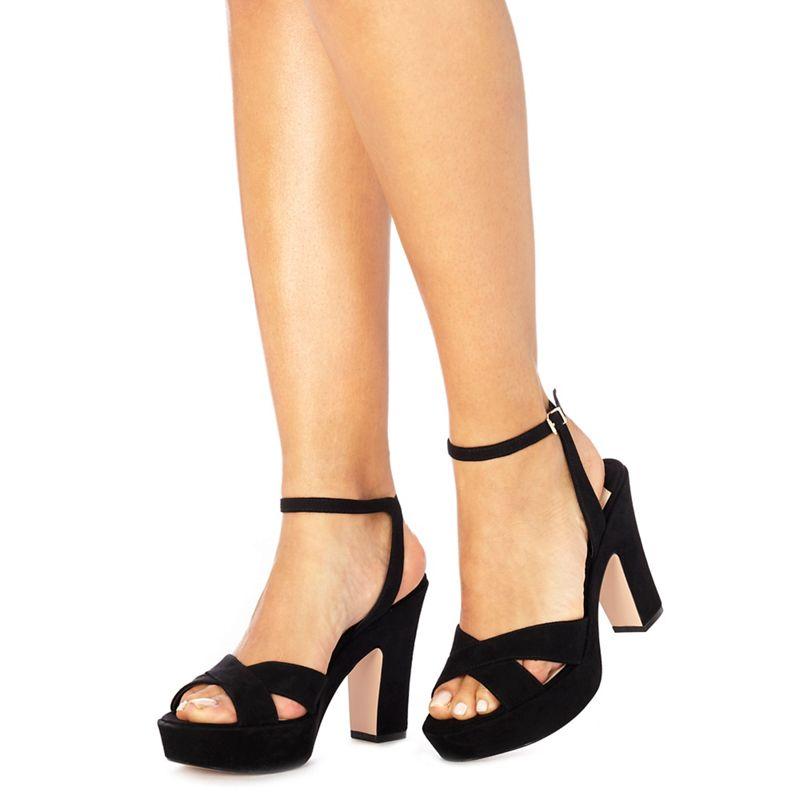 Black suedette 'Derena' high block heel ankle strap sandals