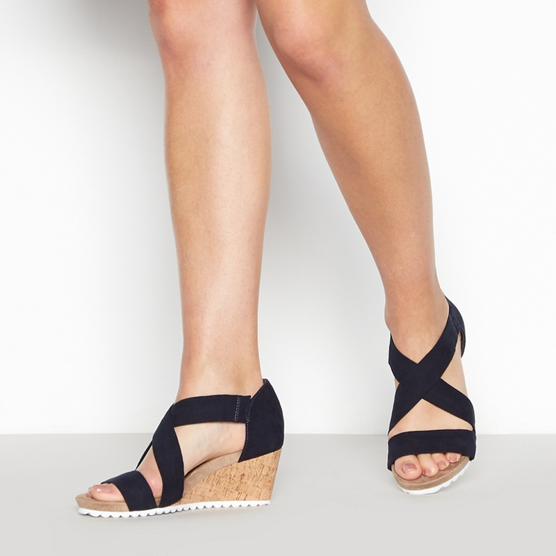 bdfbae4b0fd Good for the Sole - Navy  Gardenia  Wedge Heel Wide Fit Sandals ...
