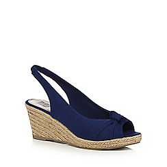 The Collection - Blue 'Charlize' high wedge heel slingbacks