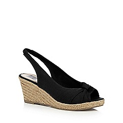 The Collection - Black 'Charlize' high wedge heel slingbacks