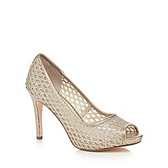 Debut - Gold cut-out peep toe high court shoes