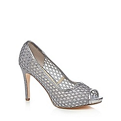 Debut - Silver cut-out peep toe high court shoes