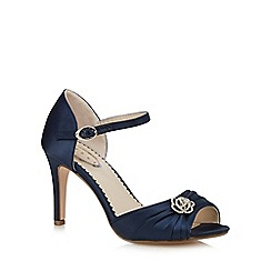 Debut - Navy gathered floral stone high court shoes