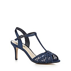 Debut - Navy lace diamante trim T-bar mid sandals