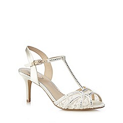 Debut - Ivory diamante embellished T-bar high sandals