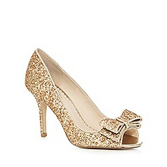 Debut - Gold 'Deanna' glitter bow peep toe shoes