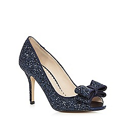 Debut - Blue 'Deanna' glitter bow peep toe shoes
