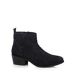Mantaray - Navy leather mid block heel ankle boots
