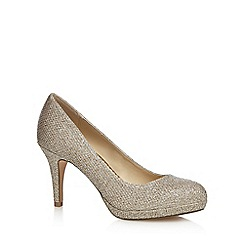 Debut - Gold glitter 'Dalya' mid stiletto heel court shoes