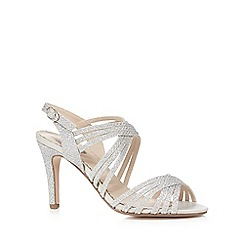 Debut - Silver glitter 'Dana' high stiletto heel ankle strap sandals
