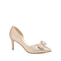 Debut - Gold glittery bow applique pointed mid court shoes