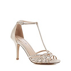 Debut - Silver high stiletto heel T-bar sandals