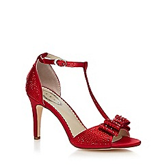 Debut - Red 'Dorthy' diamante T-bar high heeled sandal