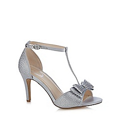 Debut - Silver 'Dorothy' diamante T-bar high heeled sandals