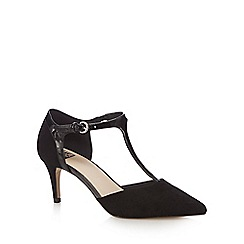 The Collection - Black suedette 'Cheske' mid stiletto heel T-bar shoes