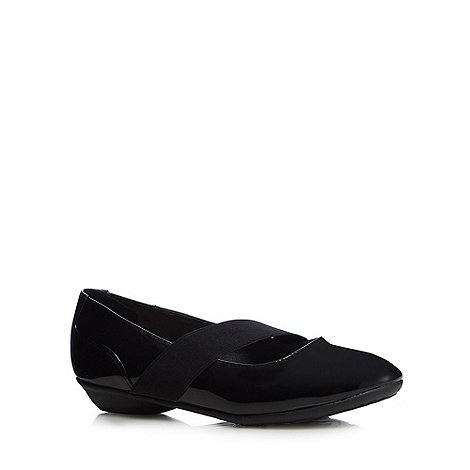 Good for the Sole - Black patent elasticated band wide fit flat shoes