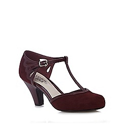 Good for the Sole - Dark red T-bar wide fit high court shoes