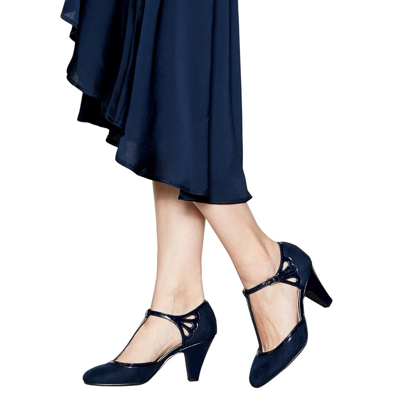 Wide Fit T Bar Style High Heeled Black Shoes