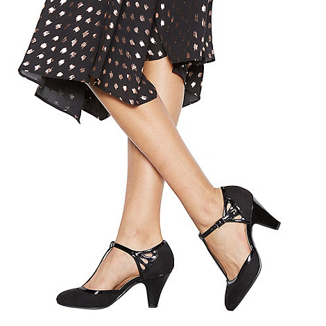 Good for the Sole - Black patent high heel wide fit T-bar shoes