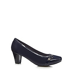 Good for the Sole - Navy buckle detail wide fit high court shoes