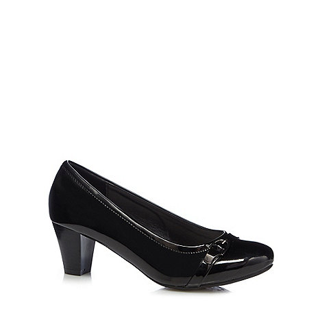 Good for the Sole - Black patent high heel wide fit court shoes
