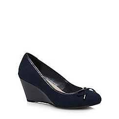 Good for the Sole - Navy mid heel wedge wide fit court shoes