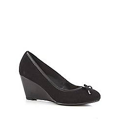 Good for the Sole - Black suedette high heel wide fit court shoes