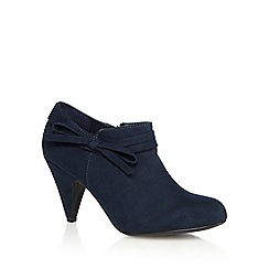 Good for the Sole - Navy high heel wide fit ankle boots