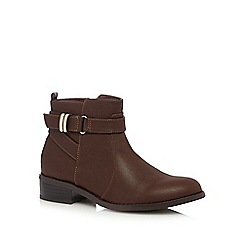 Good for the Sole - Brown strapped wide fit ankle boots