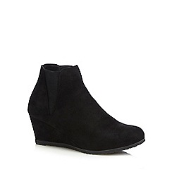 Good for the Sole - Black wide fit high wedge shoes